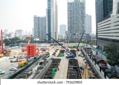 BANGKOK, THAILAND – January 6 ,2018 : Construction of building in city, crane attached to a building under construction.
