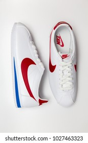 BANGKOK, THAILAND - JANUARY 6, 2018:Nike classic cortez leather white/varsity red - blance/varsity rouge  ,Nike, Inc. is an American multinational corporation that designs, develops