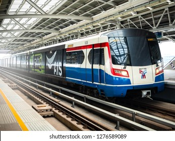 BANGKOK, THAILAND - January 6, 2019: BTS Skytrain on elevated rails stop at Pho-nimit station. The Bangkok Mass Transit System, commonly known as the BTS Skytrain in the capital of Thailand. - Image.