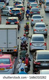 Bangkok, Thailand - January 7, 2020: A stream of cars, Traffic jam  in Bangkok, Largest city of Thailand.
