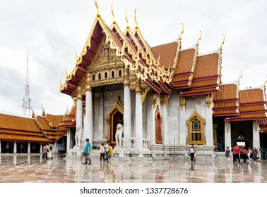 Bangkok, Thailand - - January 8, 2017: Tourist came to see   Wat Benchamabophit, the Marble temple Bangkok