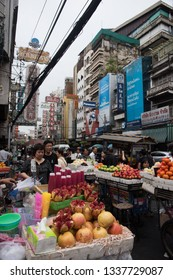 Bangkok, Thailand - - January 8, 2017: Street vendor with cart full of fruits and juices