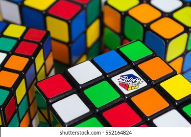 Bangkok, Thailand - January 9, 2017 : Rubik's cube showing their random colors on each sides. Rubik's Cube was invented by Erno Rubik ,a Hungarian architect , in 1974.