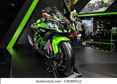 Bangkok, Thailand, Jul 15, 2020 - Kawasaki Ninja big sport racing motorbike in  Bangkok Motor Show 2020