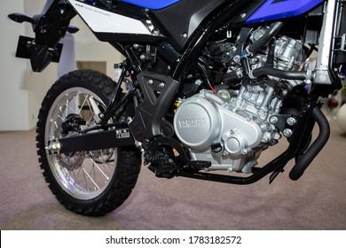 Bangkok, Thailand, Jul 15, 2020 - Close up Yamaha WR155 engine in Bangkok Motor Show 2020