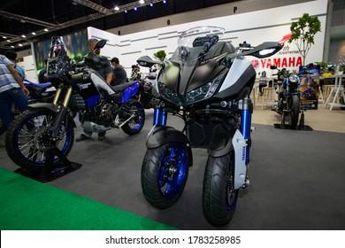 Bangkok, Thailand, Jul 15, 2020 - Yamaha Nikon tricycles big motorbike in Bangkok Motor Show 2020