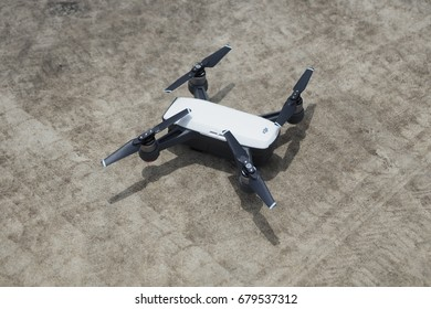BANGKOK , THAILAND - JUL 16 , 2017 : drone DJI Spark ready to sell in Thailand and waiting for takeoff , one of most portable and new features in the market