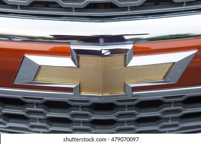 Bangkok, Thailand - Jul 17, 2015: Close up of the logo of Chevrolet on the car front, taken within a test drive. Chevrolet is a trademark of General Motors (GM), based in United State.