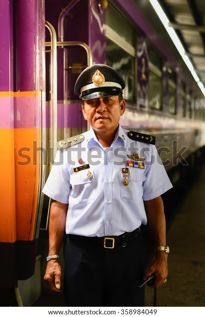 Bangkok, Thailand Jul 17 2015 : An unidentified official of the State Railway of Thailand (SRT) man in the uniform. Founded in 1890 the SRT has 4070 km of track.