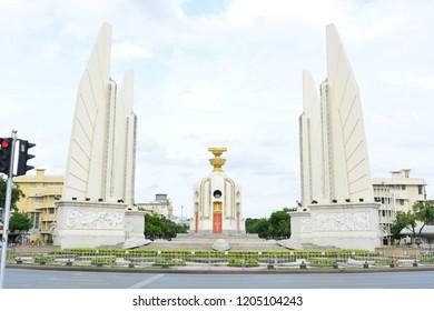 BANGKOK, THAILAND - JUL 19TH, 2018: Democracy Monument in Bangkok, Thailand, on Jul 19th, 2018