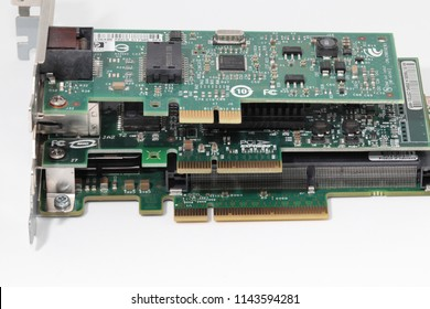 BANGKOK, THAILAND - JUL 2018: Compare size of PCi Express Connector pins, PCI-E 1X, PCI-E 4X, PCI-E 8X  from top to bottom. Isolated on white background