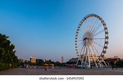 BANGKOK, THAILAND, JUL 21, 2018: Ferris wheel at Asiatique The Riverfront in Bangkok, Thailand