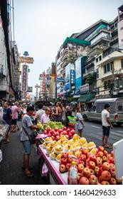 BANGKOK, THAILAND, JUL 21, 2018: daily traffic at Yaowarat road, the main street of Chinatown in Bangkok
