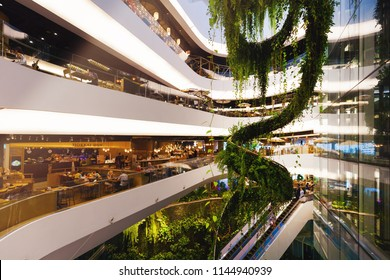BANGKOK, THAILAND - JUL 21 : The Helix Quarter at Emquartier Shopping Mall on July 21, 2018 in Bangkok, Thailand. The Emquartier is a brand new shopping center connected to Emporium.