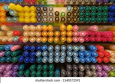 Bangkok, Thailand - JUL 24, 2018 : The Colorful of many color pen in Miniso Shop THAILAND. - Shutterstock ID 1140572591