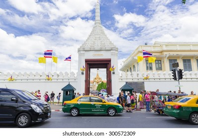 BANGKOK, THAILAND - Jul 28, 2015: Tourists visit the Grand Palace in Bangkok, Thailand on July 28 2015. Grand Palace in Bangkok is the most famous temple and landmark of Thailand.