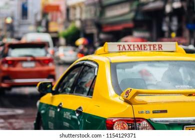 Bangkok, Thailand : JUL 28, 2018 : Taxi are heading to Yaowarat Road, Bangkok, Thailand.