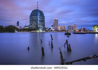 Bangkok, Thailand - Jul 8, 2016: CAT Telecom Headquarter on Chao Phraya Riverside, Bangkok, Thailand