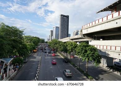 BANGKOK, THAILAND July 02, 2017 Landscape of the Morchit BTS Station,Traffic on Phahon Yothin Road