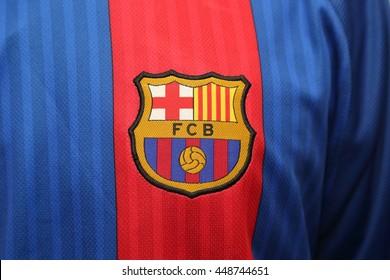 BANGKOK, THAILAND - JULY 07, 2016: The Logo of Barcelona Football Club on the Jersey on July 07,2016 in Bangkok Thailand.