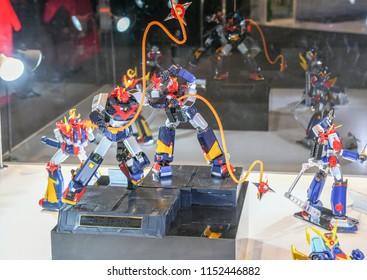 BANGKOK THAILAND JULY 08 2018 , Chōdenji Machine Voltes V robot action figure show at CHOGOKIN exhibition at Emquartier department store BANGKOK on JULY 08 2018