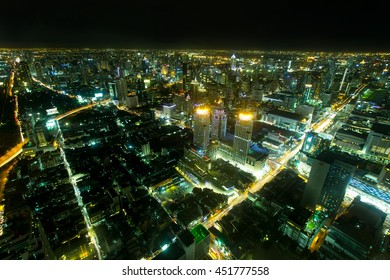 BANGKOK, THAILAND - JULY 08: Cityscape with the traffic on JULY 08, 2016, bird eye view from Baiyok Tower in Bangkok,