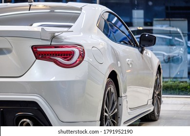 BANGKOK, THAILAND - JULY 1, 2020: Shiny Toyota 86 is sports car jointly developed by Toyota and Subaru. Also call Subaru BRZ. The fastback coupe is naturally-aspirated boxer engine rear wheel drive