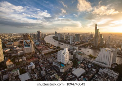 Bangkok, Thailand - July 10, 2017 - Dramatic Sunset View of Thailand's sprawling capital