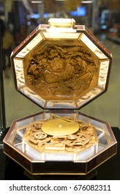 Bangkok, Thailand - July 10, 2017: Beautiful Large Size Model of The Mysterious Music Box from a film Wish Upon displays at the theatre. Foreign Language (Thai) is the name and the movie highligh
