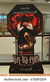Bangkok, Thailand - July 10, 2017: Beautiful Standee from an American supernatural horror film Wish Upon displays at the theatre. Foreign Language (Thai) is the name and the word in this movie.