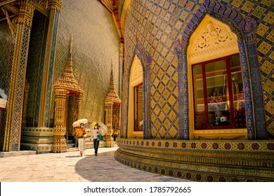 Bangkok, Thailand, July 10, 2020 Wat Rajabopit, Ancient beautiful temple, Thai traditional temple, Mosaic temple. Tourist attraction. Everyone wears a mask to prevent virus infection when going out.