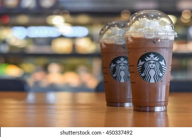 BANGKOK, THAILAND - JULY 11, 2016: Starbucks cold beverage coffee brand originated in USA celebrate 18th year anniversary establishment in Thailand with promotion buy 1 get 1 free in July month