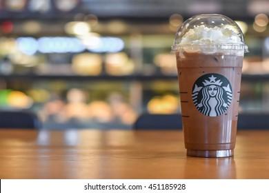 BANGKOK, THAILAND - JULY 11, 2016: Starbucks ice beverage by coffee brand originated in USA