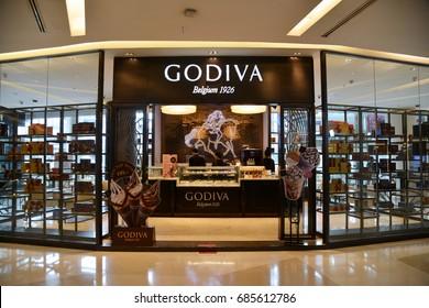 Bangkok, Thailand - July 11, 2017: Godiva Chocolate Store at Siam Paragon Shopping Center