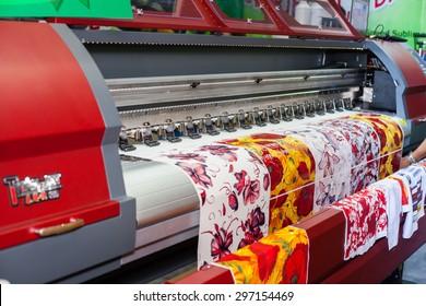 BANGKOK ,THAILAND - JULY 11:  Digital textile printer at Garment Manufacturers Sourcing Expo 2015 (GFT 2015) , on JULY 11, 2015 in Bangkok, Thailand.
