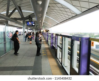 Bangkok, Thailand - July 12, 2018: People passenger at MRT Purple Line Tao Poon station. Many people in Bangkok use skytrain to save time. lifestyle of people in Bangkok, Thailand.