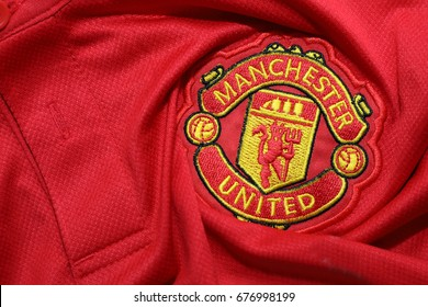 BANGKOK, THAILAND - JULY 12: The Logo of Manchester United Football Club on the Jersey on July 12,2017 in Bangkok Thailand.