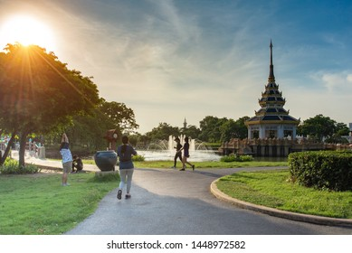 BANGKOK ,THAILAND - JULY 12:  People exercise at center park public in evening day on July 12, 2019 in Bangkok , Thailand.
