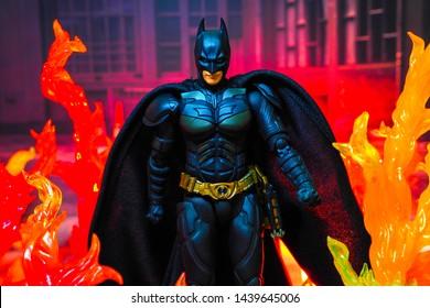 Bangkok, Thailand - July 1,2019: A setting of Batman action figure from Batman comic.