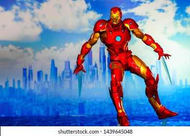 Bangkok, Thailand - July 1,2019: A setting of Iron Man action figure from Avengers comic.
