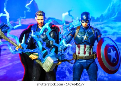 Bangkok, Thailand - July 1,2019: A setting of Thor and Captain America action figures from Avengers comic.