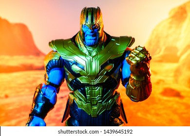 Bangkok, Thailand - July 1,2019: A setting of Thanos action figure from Avengers comic.