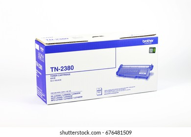 BANGKOK, THAILAND- JULY  13, 2017 :  Ink display at a local retail location in  Thailand. Brother toner Cartridges and Ink Supplies,Original TN-2380 use for  Printer Model Brother HL-L2300D,DCP-L2500D