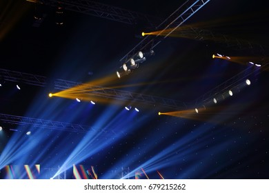 Bangkok, Thailand - July 13, 2017 ; Final Round of Miss Tourism Queen Thailand 2017, Par Lights beams Spotlight ray moving lighting on rack construction in stage event