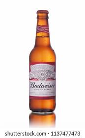 BANGKOK, THAILAND - JULY 13, 2018: Budweiser beer bottle on white background.