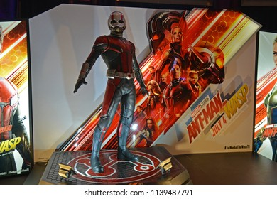 Bangkok, Thailand - July 13, 2018: Human Size Model Ant Man at The Standee of A Marvel Superhero Movie Ant-Man 2 and the Wasp displays at the theater