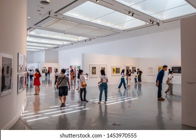 BANGKOK, THAILAND - JULY 13, 2019 : People visiting at Bangkok Art and Cultural Center(Bacc) in Bangkok. It is the contemporary art building in Pathumwan Intersection,demonstrates free art exhibition.