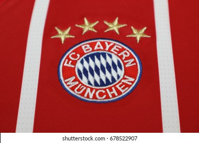 BANGKOK, THAILAND - JULY 13: The  Logo of Bayern Munich on Football Jersey on July 13,2017 in Bangkok Thailand.