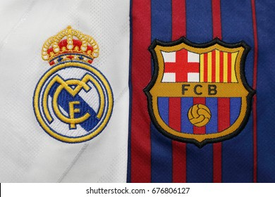 BANGKOK, THAILAND -JULY 13: Real Madris and Barcelona Logo on football jersey on July 13, 2017