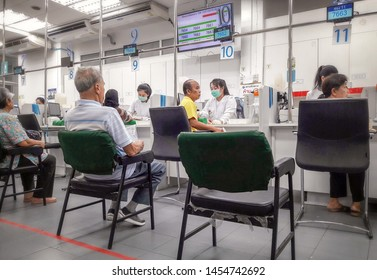 BANGKOK, THAILAND - JULY 13: Unnamed elderly patients que for taking blood samples in Sirirat public hospital in Bangkok on July 13, 2019.